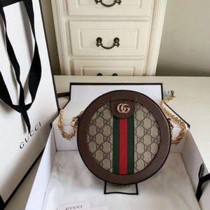 NWT BeigeEbony GG Mini Round Shoulder Bag